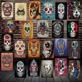 Sugar Skull Mexican Style Metal Tatoo Parlor Signs