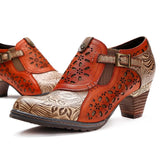 Women's Genuine Leather Bohemian Pumps