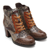 Women Winter Genuine Leather Splicing Boots