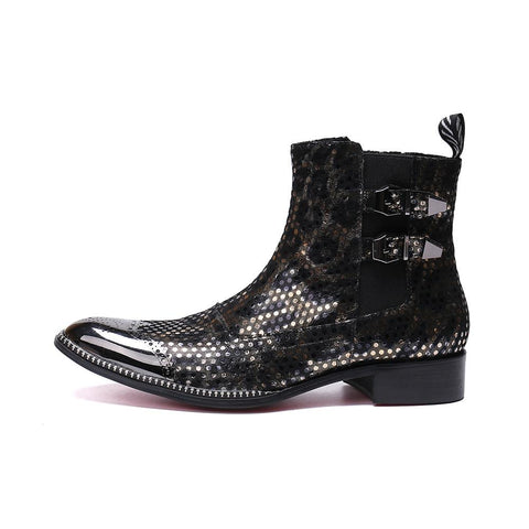 Men's Metal-Tipped Cowboy Biker Boots