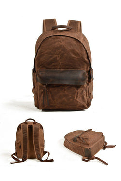 Waterproof Canvas and Leather Backpack