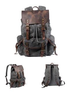 Oil Wax Leather Canvas Riding Bag