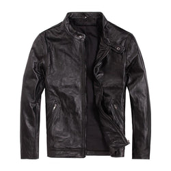 Slim Fit Cowhide Spring Biker Jacket
