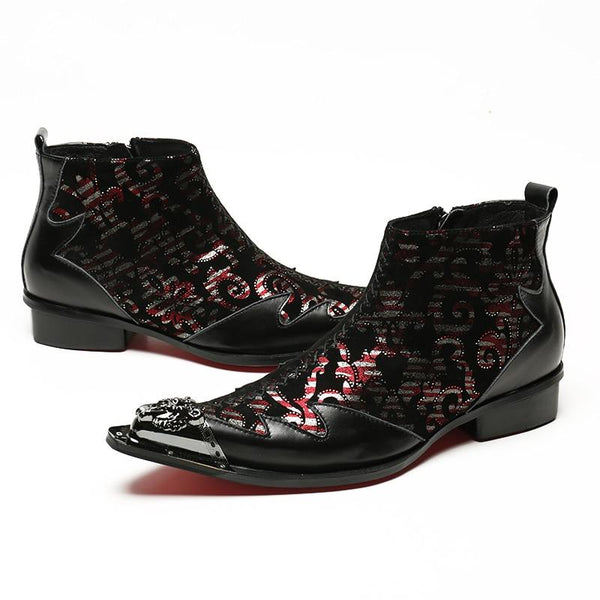 Mens Leather Metal Toe Zipper Ankle Boots