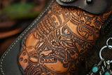 Men Vintage Leather Skin-Carving Design Long Wallet