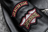 Indian Head Embroidered Genuine Leather Motorcycle Jacket