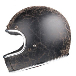 DOT Certified Full-Face PU Leather Biker Helmet