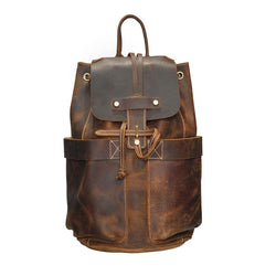 Handmade Genuine Oil Leather Drawstring Daypack