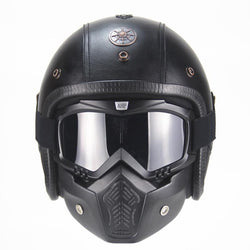 DOT Certified PU Leather Vintage 3/4 Helmet