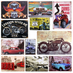 Vintage Metal Tin Motorcycle/Classic Auto Signs
