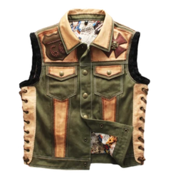 Embroidered Genuine Leather Riding Vest