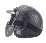 PU Leather Motorcycle Helmets w/ Goggle and Mask