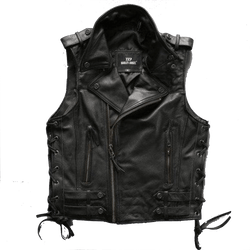 Oblique Zip Genuine Cowhide Biker Vest