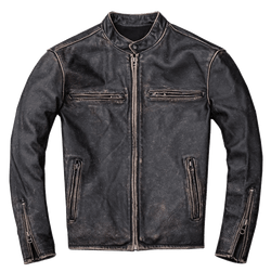 Stone-Mill Washed Calf-Skin Leather Jacket.