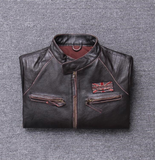 Slim Fit UBN Leather Motorcycle Jacket
