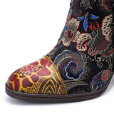 Women's Genuine Leather Thick Heeled Boots