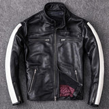 Genuine Leather White Stripe Biker's Jacket