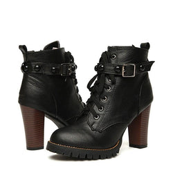 Ankle Boots - Women Black High Heel Gothic Steampunk Boots