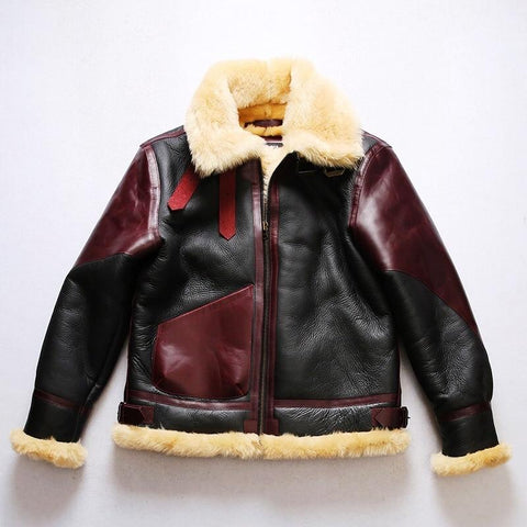 Genuine Sheep Leather Bomber Shearling Coat