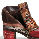 Embossed Rose Genuine Leather Boots