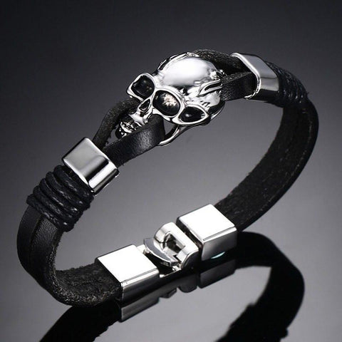 Charm Bracelets - Men's Black Leather Skull Bracelet