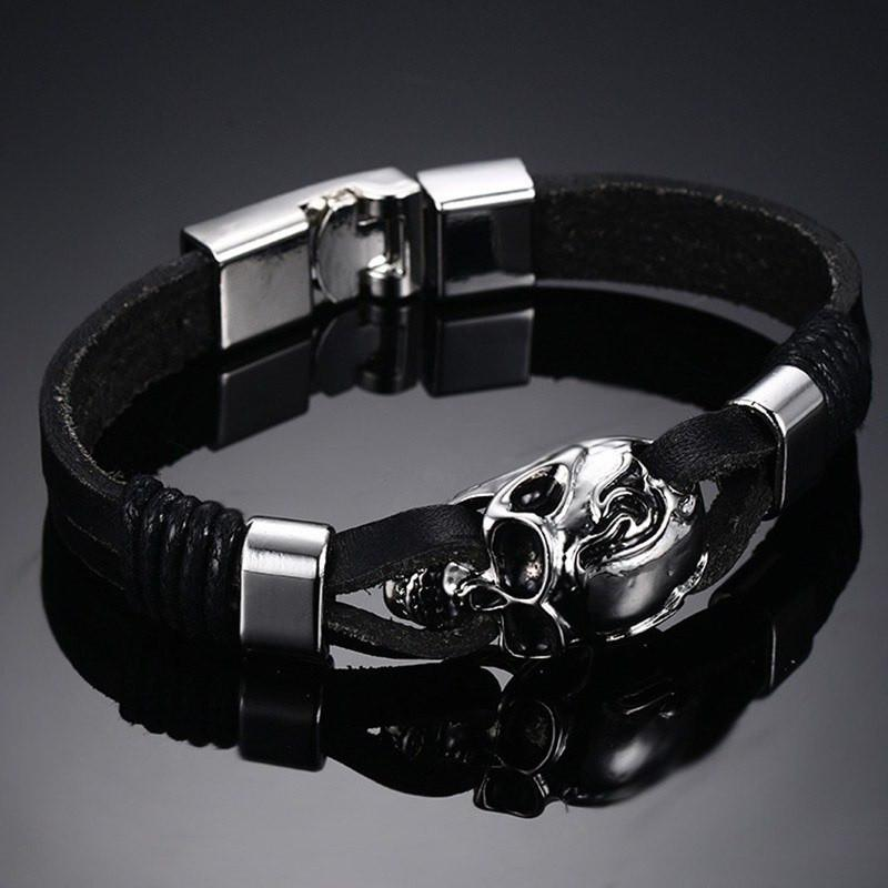 Men S Black Leather Skull Bracelet