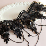 Choker Necklaces - Elegant Black Lace Gothic Choker