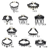 Choker Necklaces - Gothic Crystal Black Lace Choker Necklaces