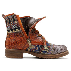 Genuine Leather Women's Western Ankle Boots