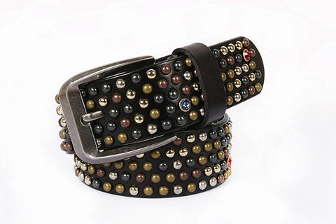 Sequin Riveted Cowhide Leather Belt