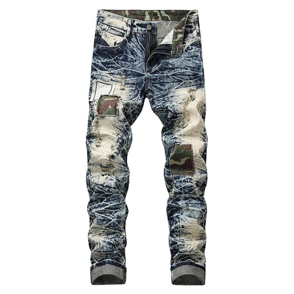 Snow Washed Patchwork Jeans