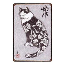 Vintage Japanese Samurai Cat Wall Art