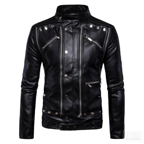 Vintage Punk PU Leather Motorcycle Jacket