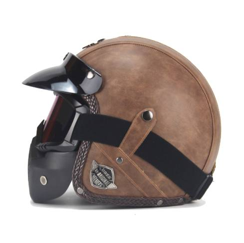 Helmets - DOT Certified PU Leather Motorcycle Helmets W/ Goggle And Mask