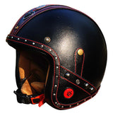 Helmets - Genuine Leather Vintage Motorcycle Helmet