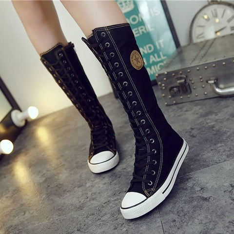 Knee-High Boots - Elegant Canvas Lace-up Boots In Black Or White