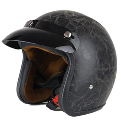 Leather Helmet - DOT Certified Leather Motorcycle Helmet