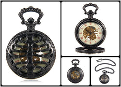 Mechanical Pocket Watch - The Black Skeleton Pocket Watch