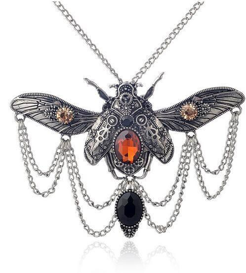 Pendant Necklaces - Vintage Steampunk Beetle Pendant And Necklace