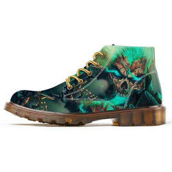 Skull Print Colorful Canvas Boots.