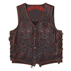 Vintage Red/Brown Lightning Skulls Genuine Leather Vest