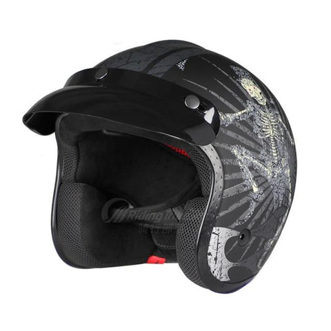 DOT/ECE Fiberglass Cafe Racer Helmet For Women and Men