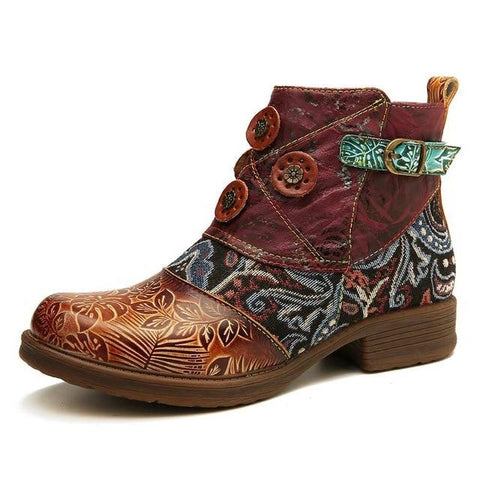 Retro Buckle Genuine Leather Splicing Boots