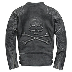 Skull-n-Bones Vintage Leather Motorcycle Jacket