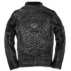 Men's Skull Biker Leather Jacket
