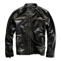 Vintage Black Slim Fit Biker's Jacket