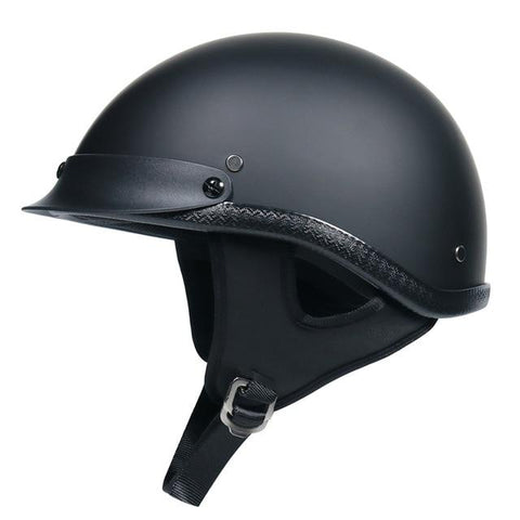DOT Half Face Motorcycle Helmet w/ Built-In Sun Visor