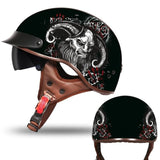 DOT Certified Vintage Open-Faced Motorcycle Helmet