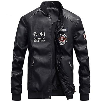 PU Leather Military Jacket