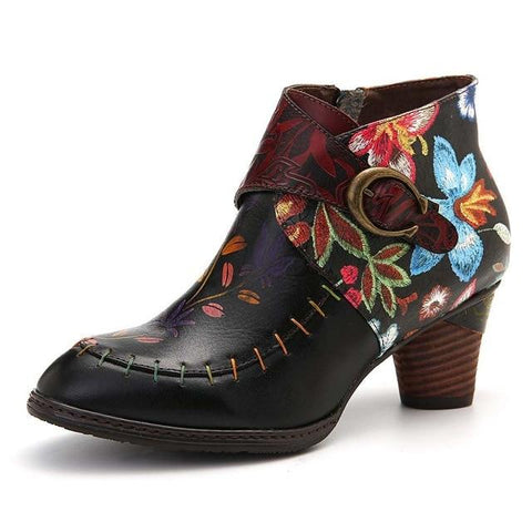 Genuine Leather Stitched/Painted Ankle Boots